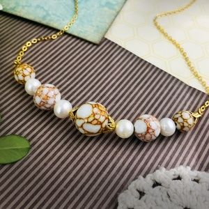 Delicate Spun Gold Howlite Real Pearl Necklace